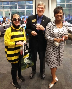 """Bee""ball Jan Rowley, Jim Probsdorfer, and Clenise Platt Promoting End Polio Now Games courtesy of Dana Rieves."